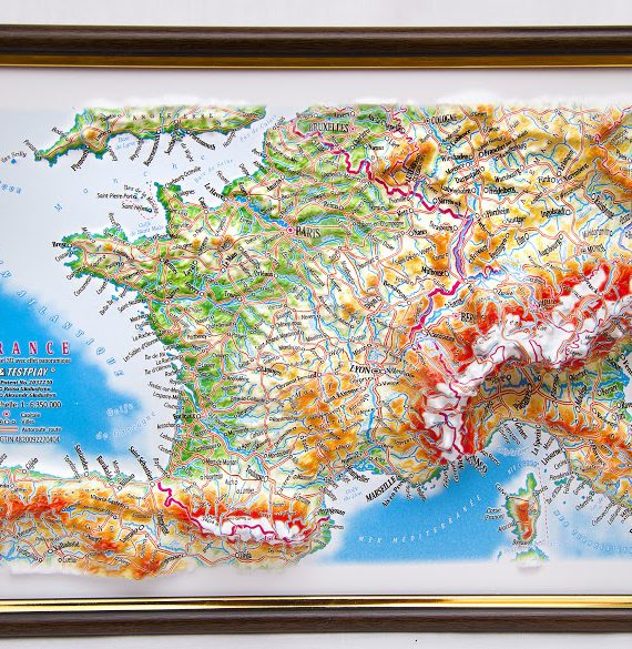 Raised Relief Map Of France Framed X What If Scientific - Raised relief map