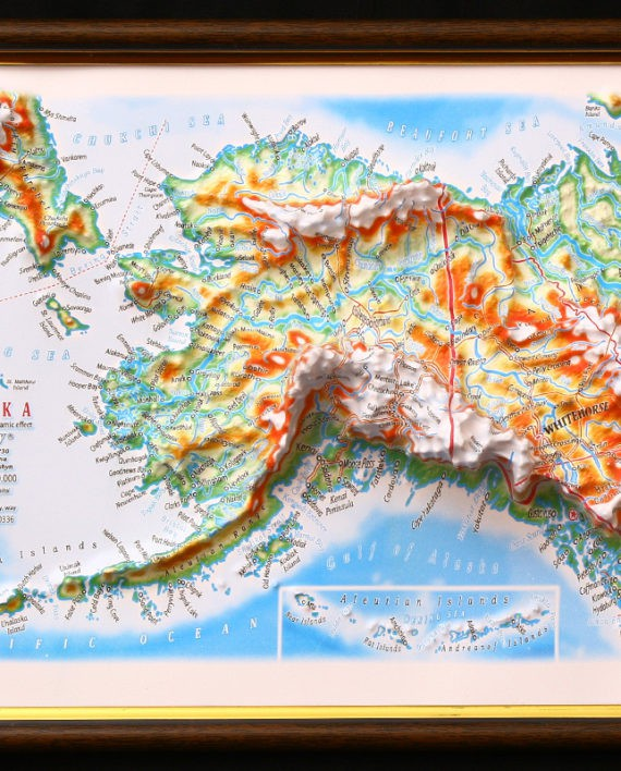 Raised Relief Map Of Alaska Framed X What If Scientific - Raised relief map