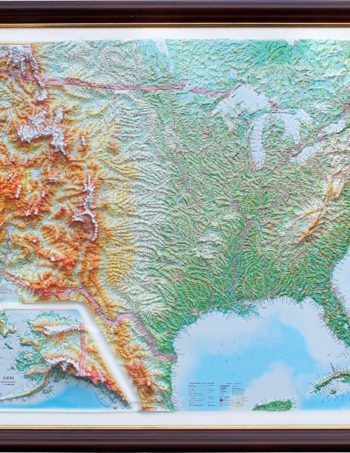 Raised Relief Map Of The US Unframed X What If - Us raised relief map
