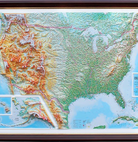 Raised Relief Map Of The US Unframed X What If - Relief map us