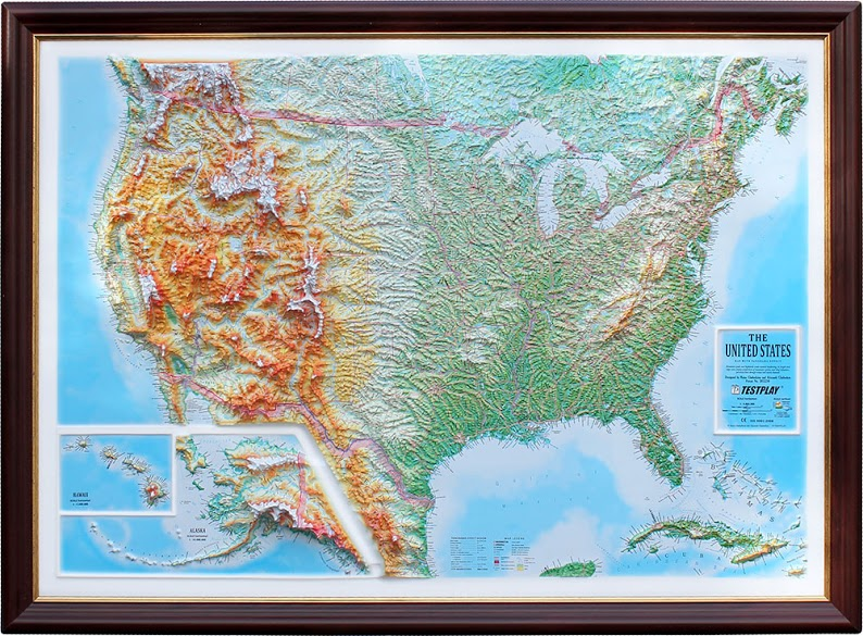 Raised Relief Maps Raised Relief Map of the US, unframed, 44