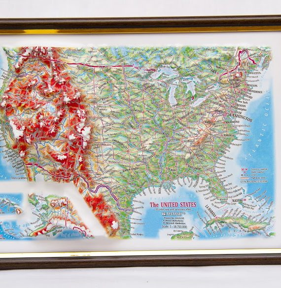 Raised Relief Map Of The US Framed X What If Scientific - Us raised relief map