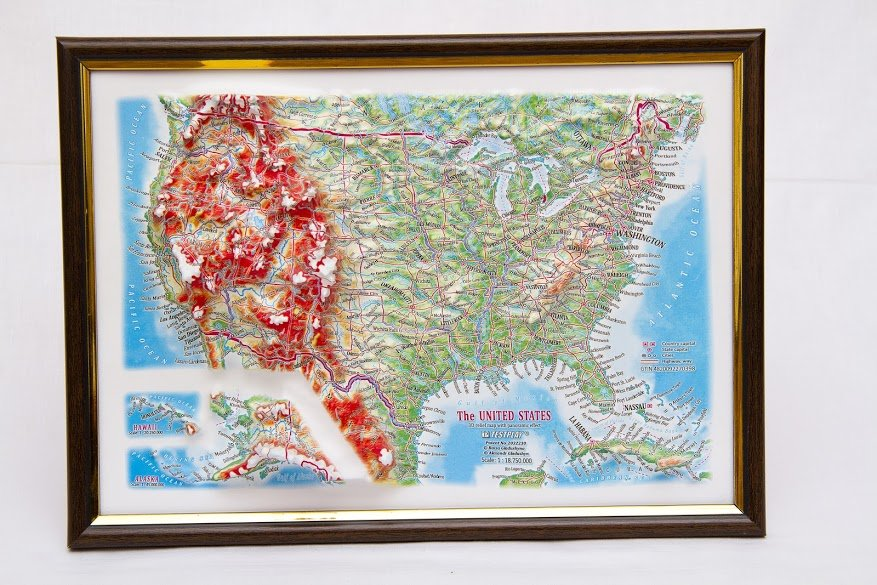 Raised Relief Map of the US, framed, 12″x9″